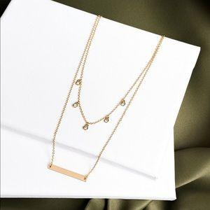 Fair Trade Gold Layered Gem Bar Necklace